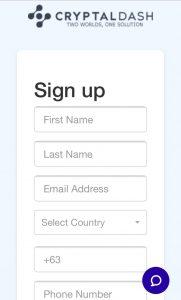 CRYPTALDASH(クリプタルダッシュ)ユーザー登録画面で各入力項目を設定する