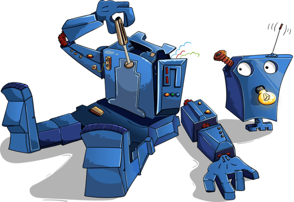 働きすぎて疲れたロボット